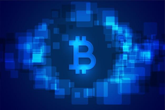 Fundo futurista de moeda com tecnologia de criptografia bitcoin