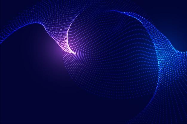 Fundo futurista de partículas de tecnologia com luzes brilhantes