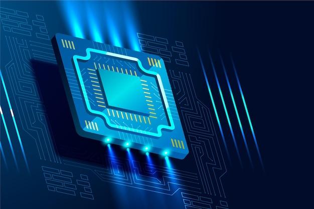 Fundo futurista de processador de microchip