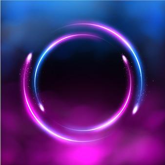 Fundo futurista de quadro de iluminação de néon de trilha de círculo brilhante com vetor de fumaça rosa e azul