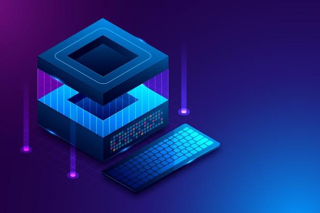 Fundo futurista de tecnologia isométrica