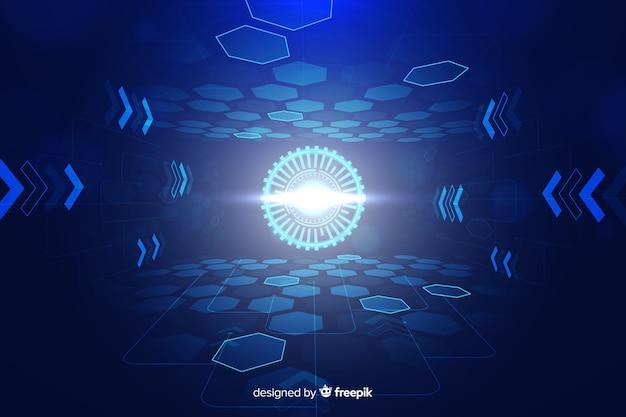 Fundo futurista de túnel de luz tecnológico