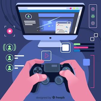 Fundo futurista de um computador gamer
