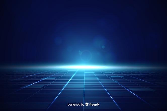 Fundo futurista do horizonte com luz azul