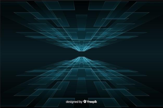 Fundo futurista do horizonte com luzes azuis