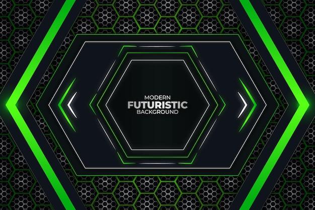 Fundo futurista escuro e verde