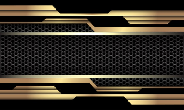 Fundo futurista luxuoso da tecnologia futurista da malha geométrica preta escura do cyber do circuito do ouro preto.