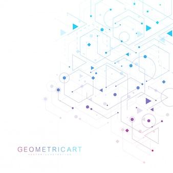 Fundo futurista moderno do padrão científico hexagonal. fundo abstrato virtual com partícula, estrutura da molécula para medicina, tecnologia, química, ciência. rede social
