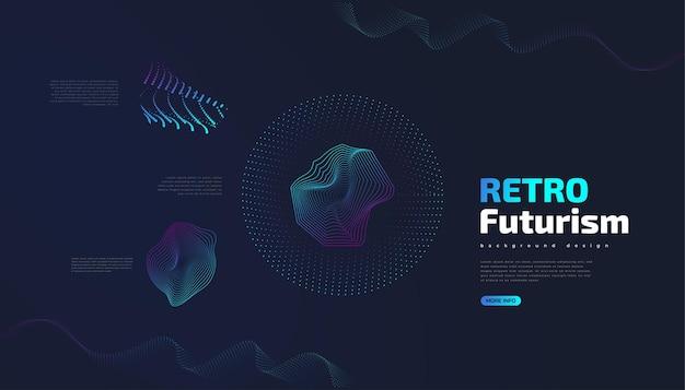 Fundo futurista retrô com formas onduladas coloridas abstratas. ilustração vetorial de ficção científica, pode ser usada para banner, página de destino, capa, apresentação e muito mais
