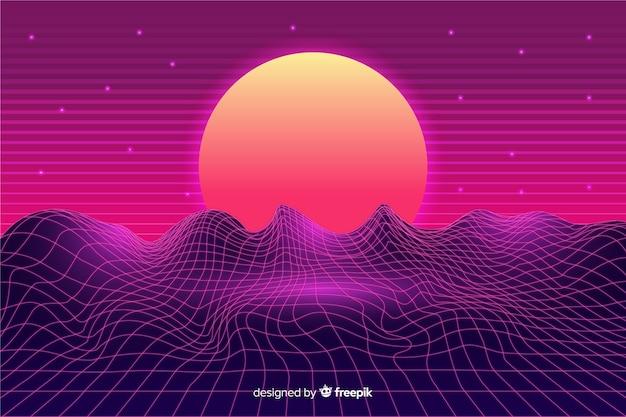 Fundo futurista retro da paisagem da ficção científica, cor roxa