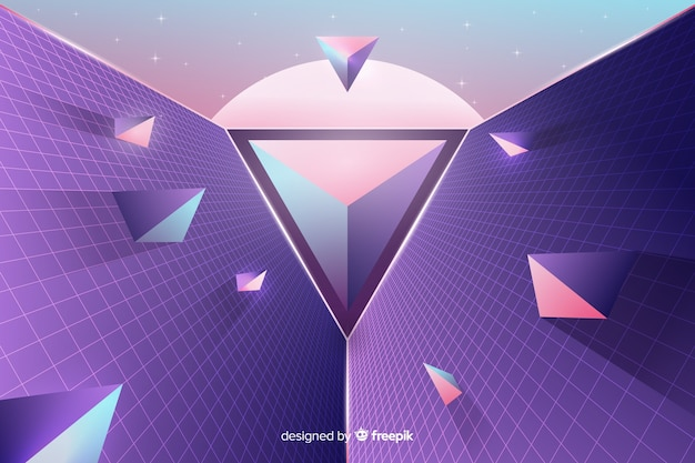 Fundo futurista retro geométrico tridimensional