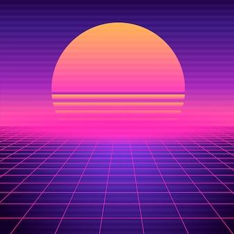 Fundo futurista retro vaporwave. grade de synthwave geométrica de néon, espaço claro com sol poente.