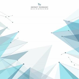 Fundo futuro futurista abstrato dos triângulos azuis.