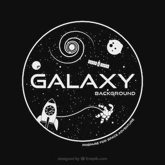 Fundo galaxy e astronautas