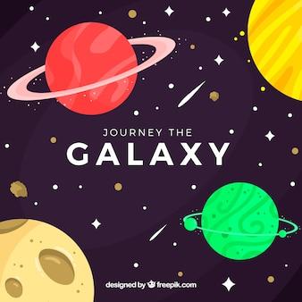 Fundo galaxy em design plano