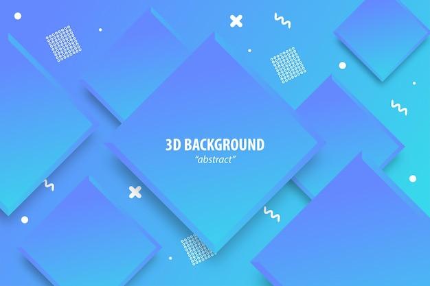 Fundo geométrico abstrato azul 3d com corte de papel em camadas cor dourada meio-tom