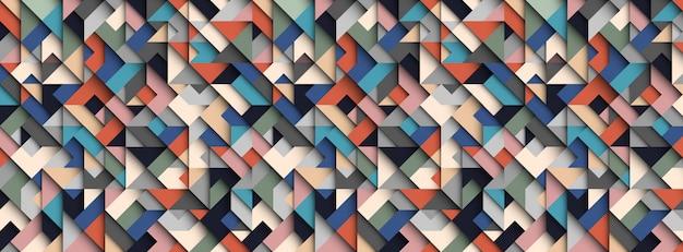 Fundo geométrico abstrato colorido, efeito 3d, cores da moda