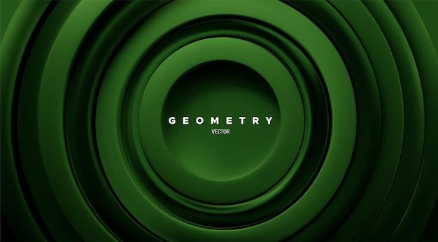 Fundo geométrico abstrato com anéis concêntricos verdes Vetor Premium