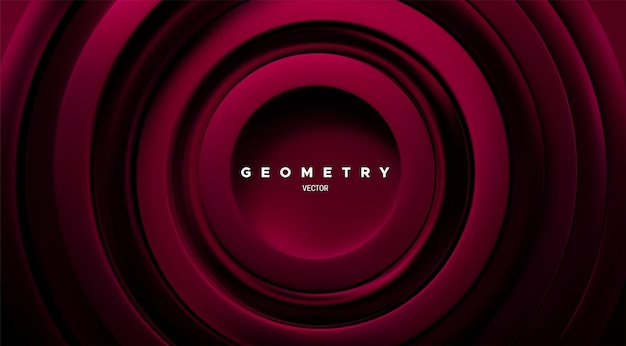 Fundo geométrico abstrato com anéis concêntricos vermelho-escuros