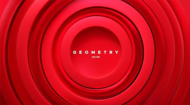 Fundo geométrico abstrato com anéis concêntricos vermelhos