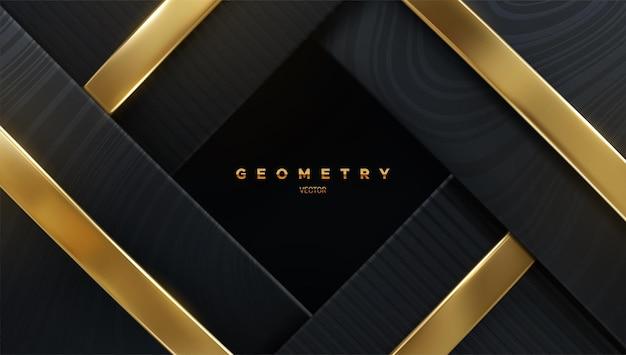Fundo geométrico abstrato com camadas pretas e fitas douradas Vetor Premium