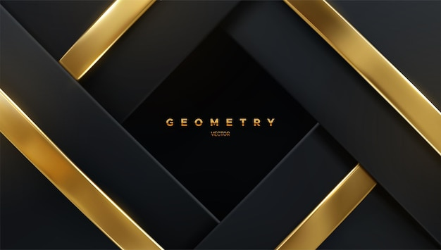 Fundo geométrico abstrato com camadas pretas e fitas douradas
