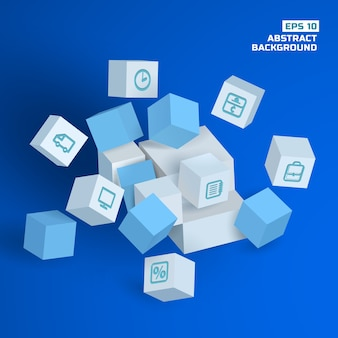 Fundo geométrico abstrato com cubos 3d