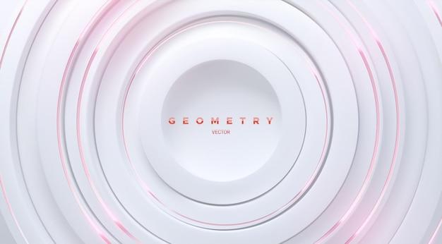 Fundo geométrico abstrato com formas de círculos concêntricos brancos e listras cor de rosa