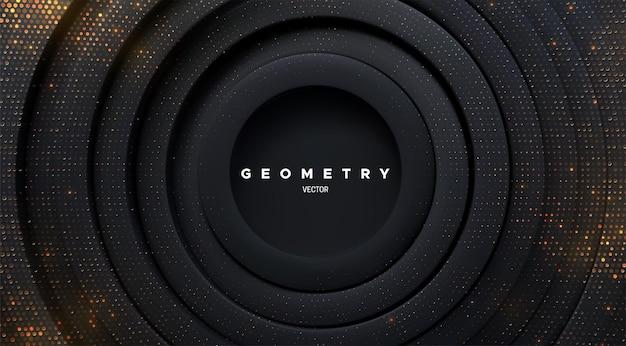 Fundo geométrico abstrato com formas de círculos concêntricos pretos e brilhos dourados