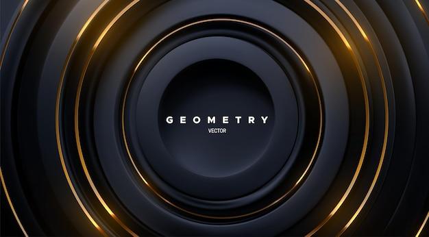 Fundo geométrico abstrato com formas de círculos concêntricos pretos e listras douradas