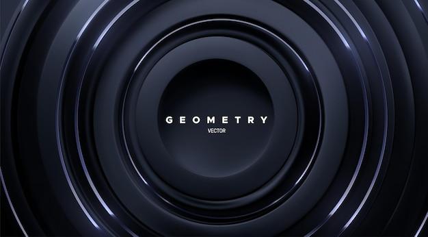 Fundo geométrico abstrato com formas de círculos concêntricos pretos e listras prateadas