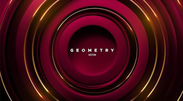 Fundo geométrico abstrato com formas de círculos concêntricos vermelhos e listras douradas
