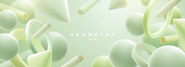 Fundo geométrico abstrato com formas fluidas em 3d verde-menta