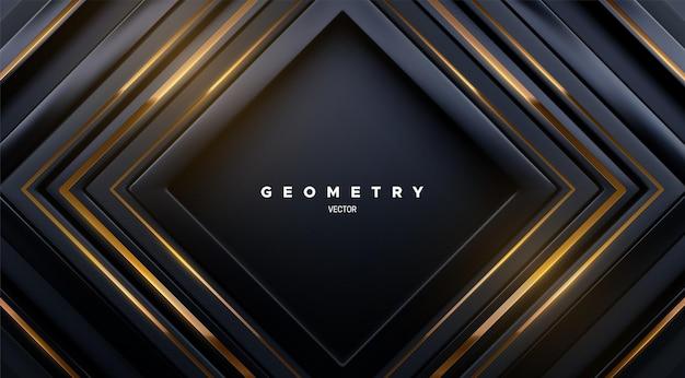 Fundo geométrico abstrato com formas quadradas pretas e listras douradas