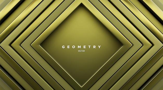 Fundo geométrico abstrato com molduras quadradas concêntricas verdes cáqui