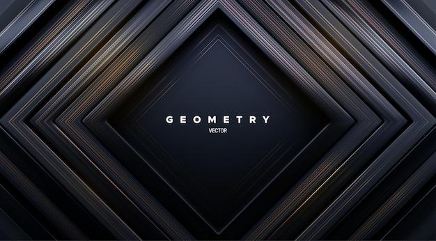 Fundo geométrico abstrato com molduras quadradas pretas concêntricas e textura dourada escovada