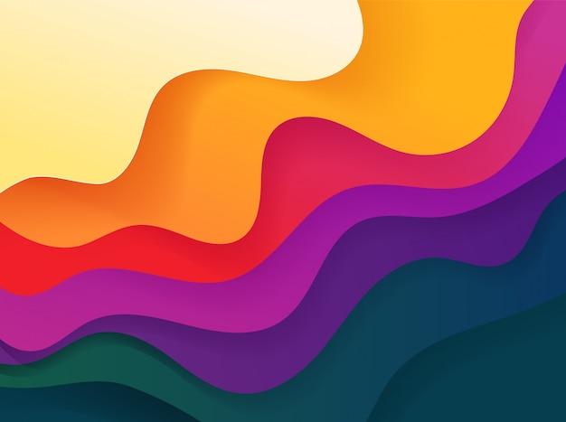 Fundo geométrico abstrato da cor vívida. formas vetoriais fluidas