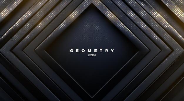 Fundo geométrico abstrato de luxuosas molduras quadradas pretas brilhantes com brilhos dourados