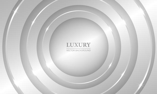 Fundo geométrico abstrato de prata d de luxo com círculos e luzes metálicas