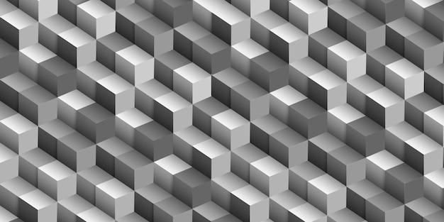 Fundo geométrico abstrato do cubo, ilusão de ótica 3d. modelo de design gráfico, modelo monocromático. ilustração vetorial