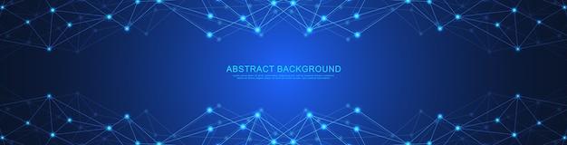 Fundo geométrico abstrato e pontos e linhas de conexão. conexão de rede global.