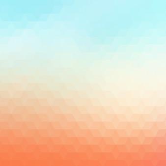 Fundo geométrico abstrato em tons azuis laranja e luz