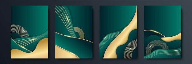 Fundo geométrico abstrato moderno simples e verde escuro e glitter dourados com conceito de listras 3d. fundo verde escuro e dourado luxuoso ondulado abstrato. elemento de design gráfico.