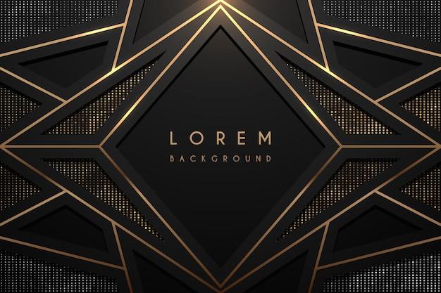 Fundo geométrico abstrato preto e dourado