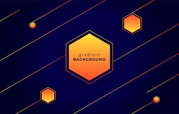 Fundo geométrico azul escuro com gradiente de laranja amarelo