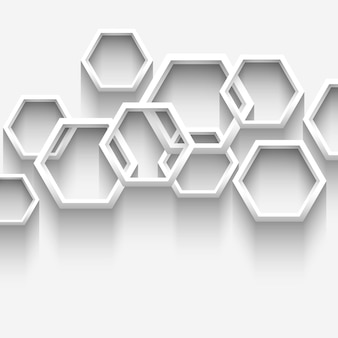 Fundo geométrico branco com hexágonos