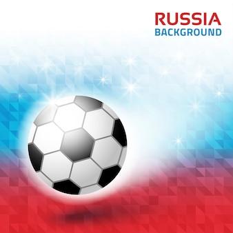 Fundo geométrico brilhante. cores da bandeira da rússia 2018. ícone de bola de futebol.