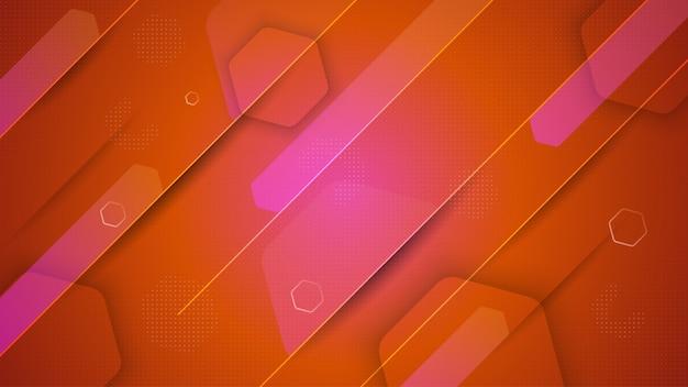 Fundo geométrico colorido com composição de formas de hexágono fluido gradiente