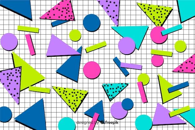 Fundo geométrico colorido dos anos 80