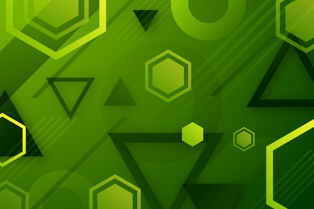 Fundo geométrico com formas verdes